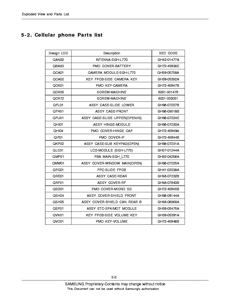 SAMSUNG SGH-L770 SERVICE MANUAL Service Manual download