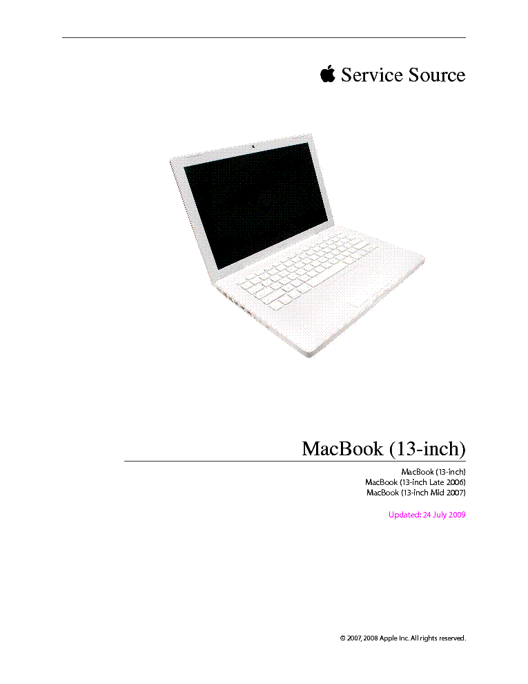 APPLE MACBOOK 13INCH Service Manual download, schematics