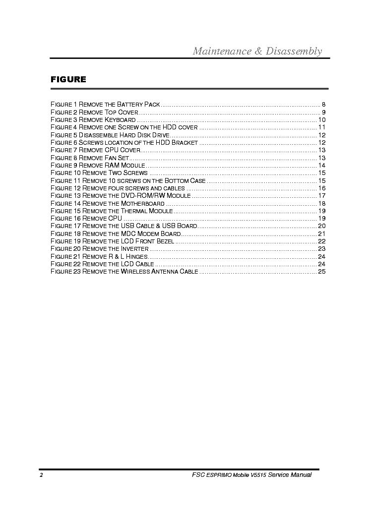 FUJITSU-SIEMENS ESPRIMO MOBILE V5515 V5535 V5555 Service