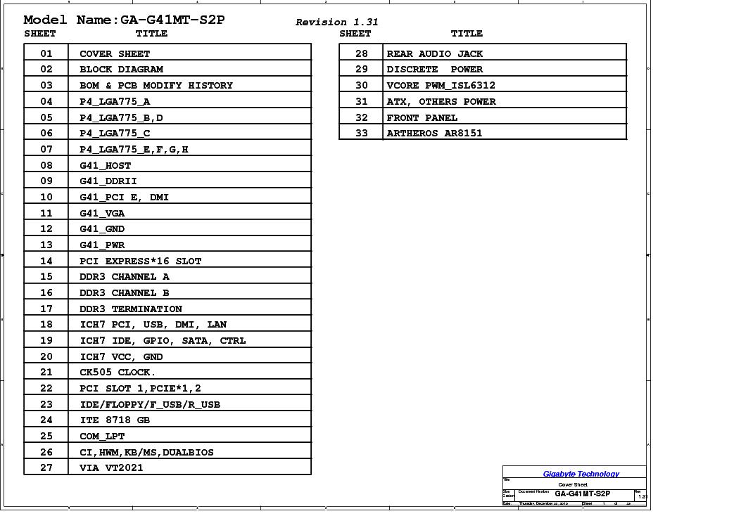 GIGABYTE GA-G41MT-S2P REV 1.31 SCH Service Manual download