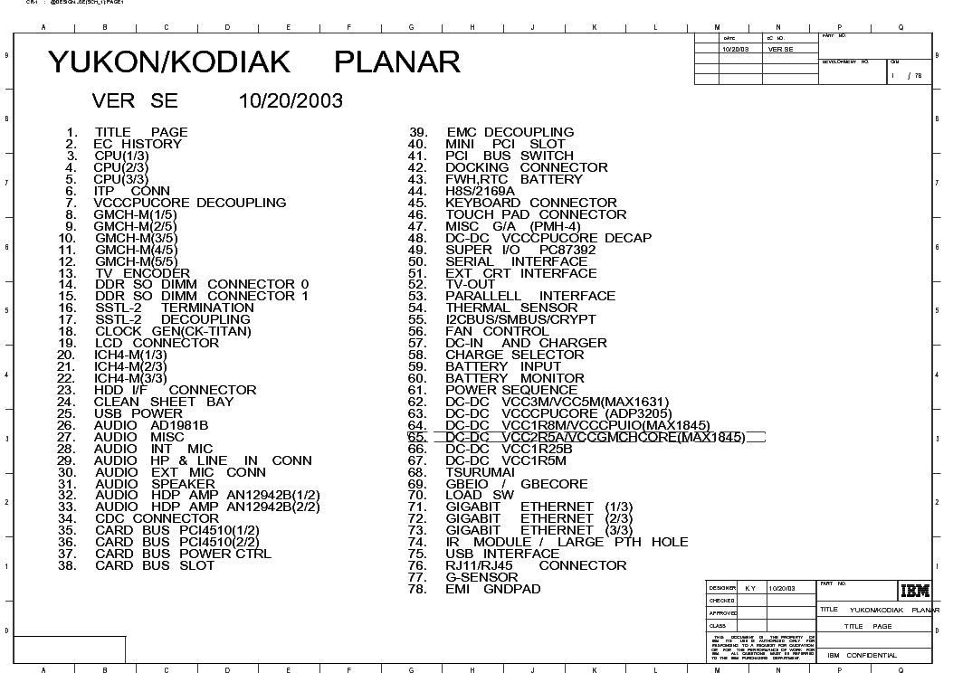 IBM R51 YUKON KODIAK PLANAR REV SE SCH Service Manual