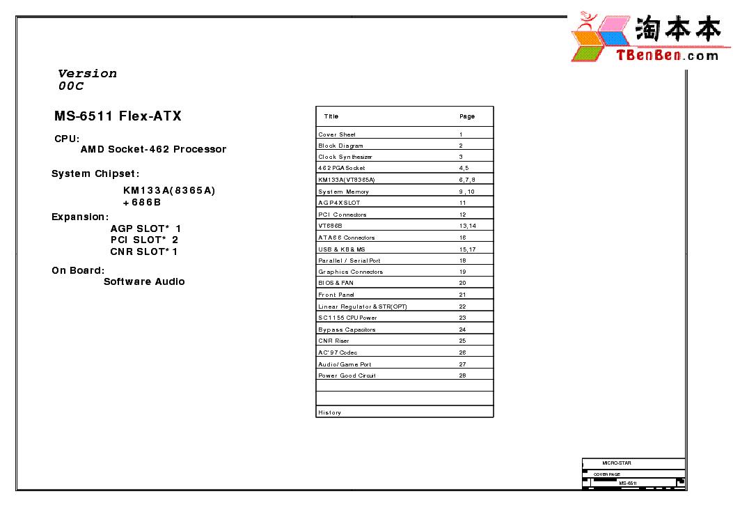 MSI MS-6511 REV 0C SCH Service Manual download, schematics