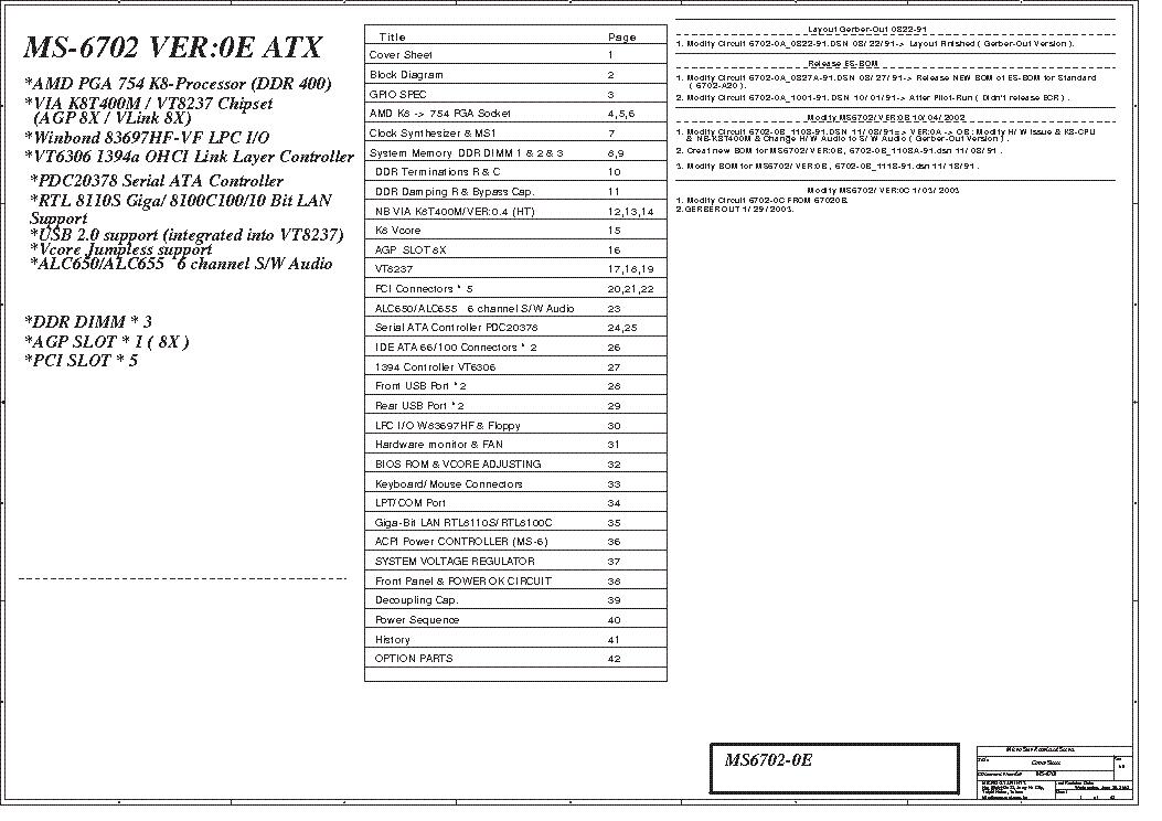 MSI MS-6702 REV 0E SCH Service Manual download, schematics