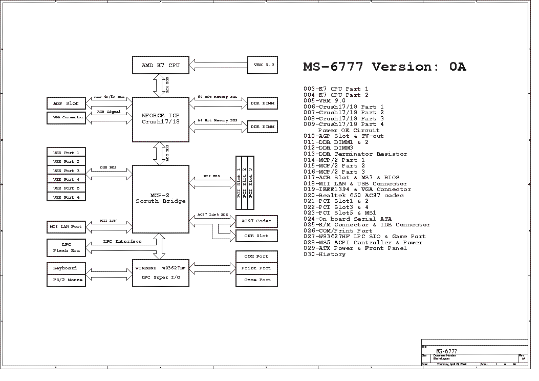MSI MS-6541 REV 0B SCH Service Manual download, schematics