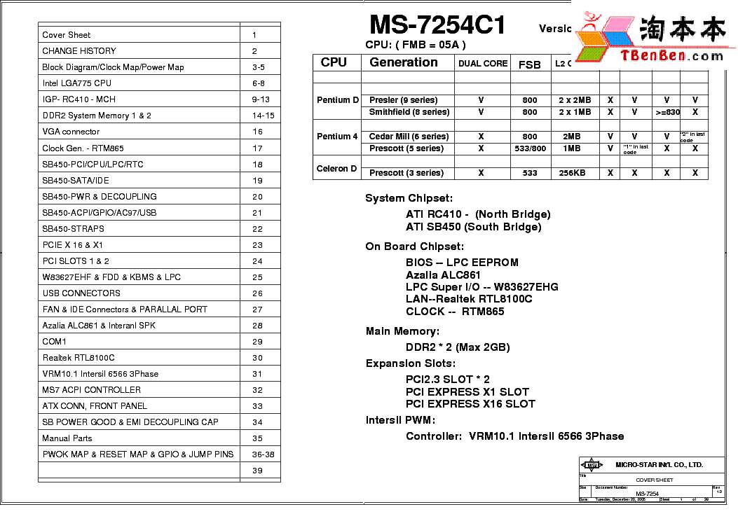 MSI MS-7338 REV 0B SCH Service Manual download, schematics