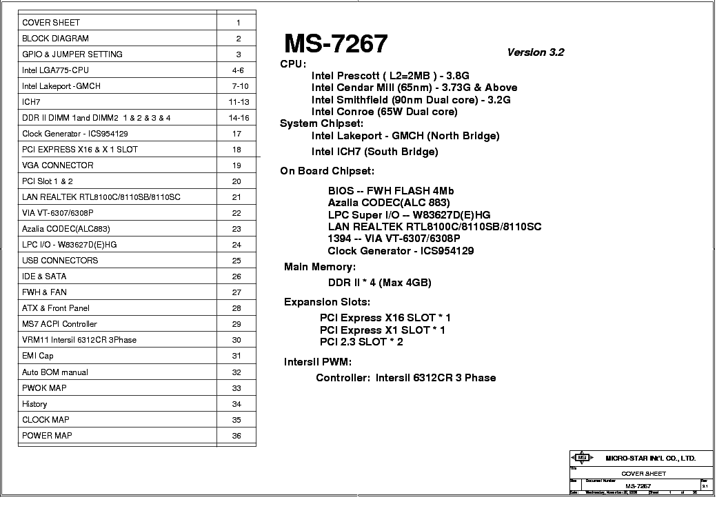 MSI MS-9641 REV 20 SCH Service Manual download, schematics