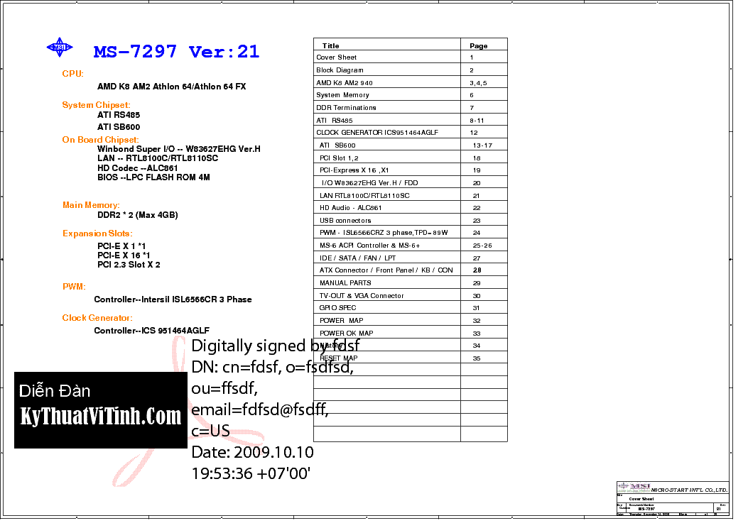 MSI MS-7297 REV 21 SCH Service Manual download, schematics