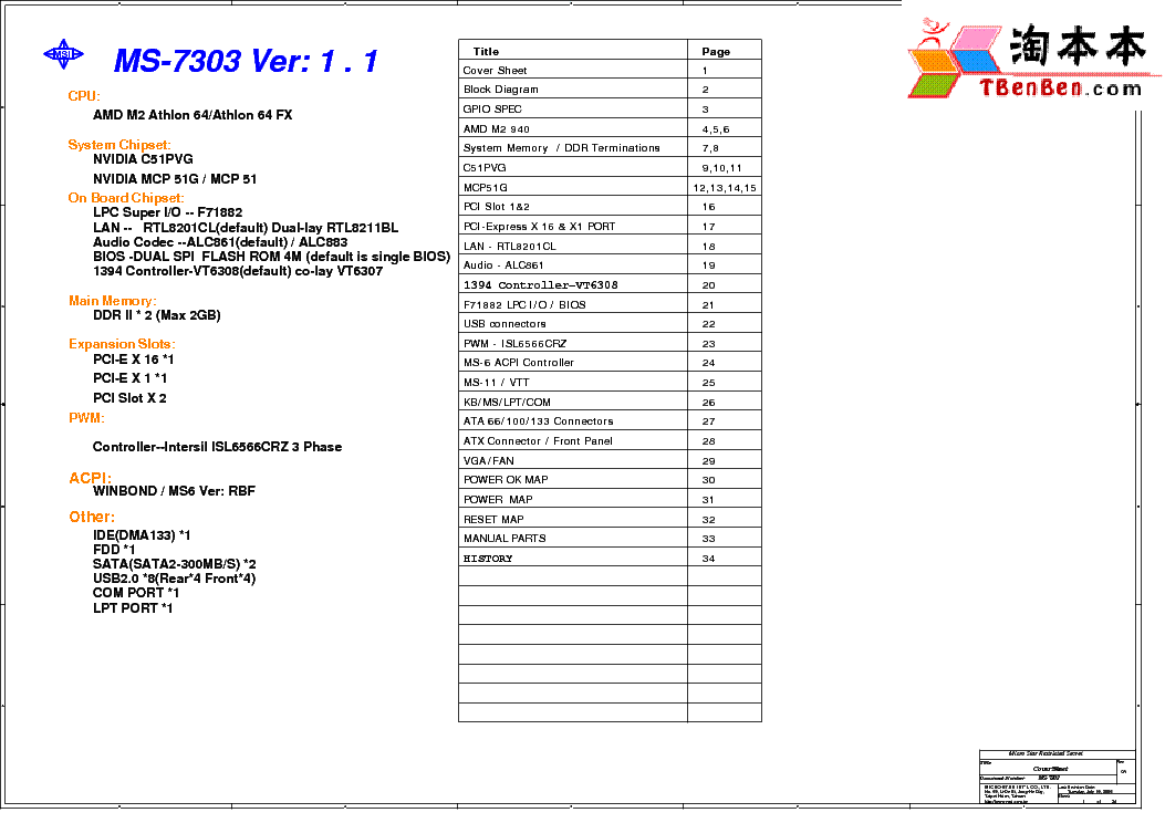 MSI MS-7327 REV 1.1 SCH Service Manual free download