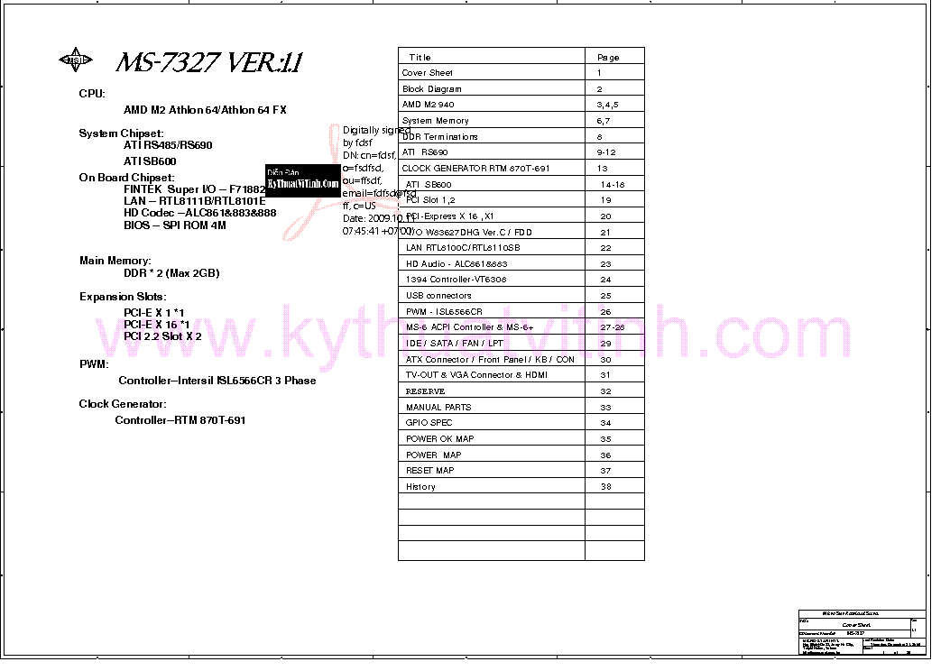 MSI MS-7327 REV 1.1 SCH Service Manual download