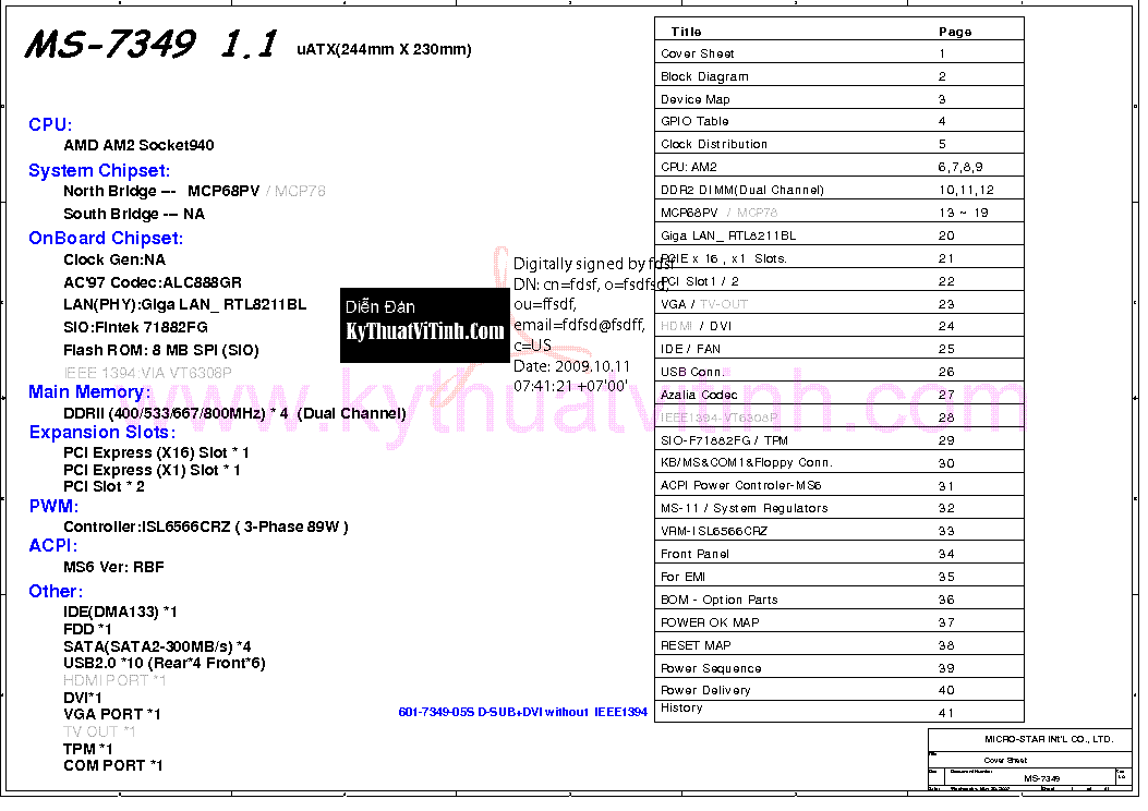 MSI MS-7349 DVI REV 1.1 SCH Service Manual download