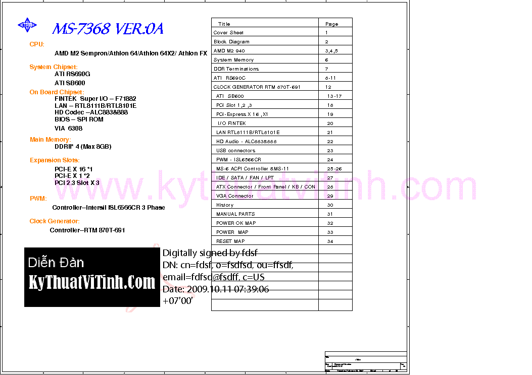 MSI MS-7368 REV 0A SCH Service Manual download, schematics