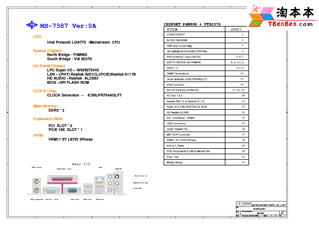 MSI MS-7387 REV 0A SCH Service Manual download, schematics