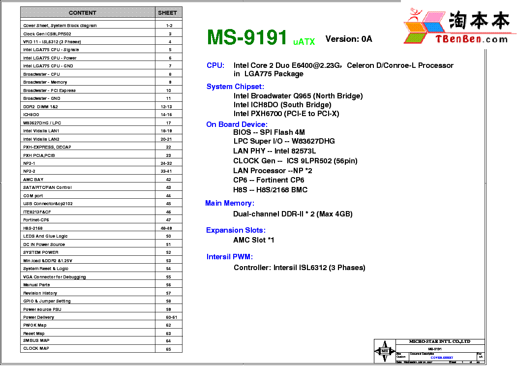 MSI MS-6541 REV 0EE1 SCH Service Manual free download