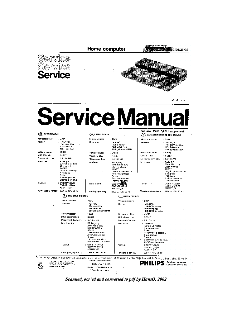 PHILIPS VG8020 Service Manual download, schematics, eeprom
