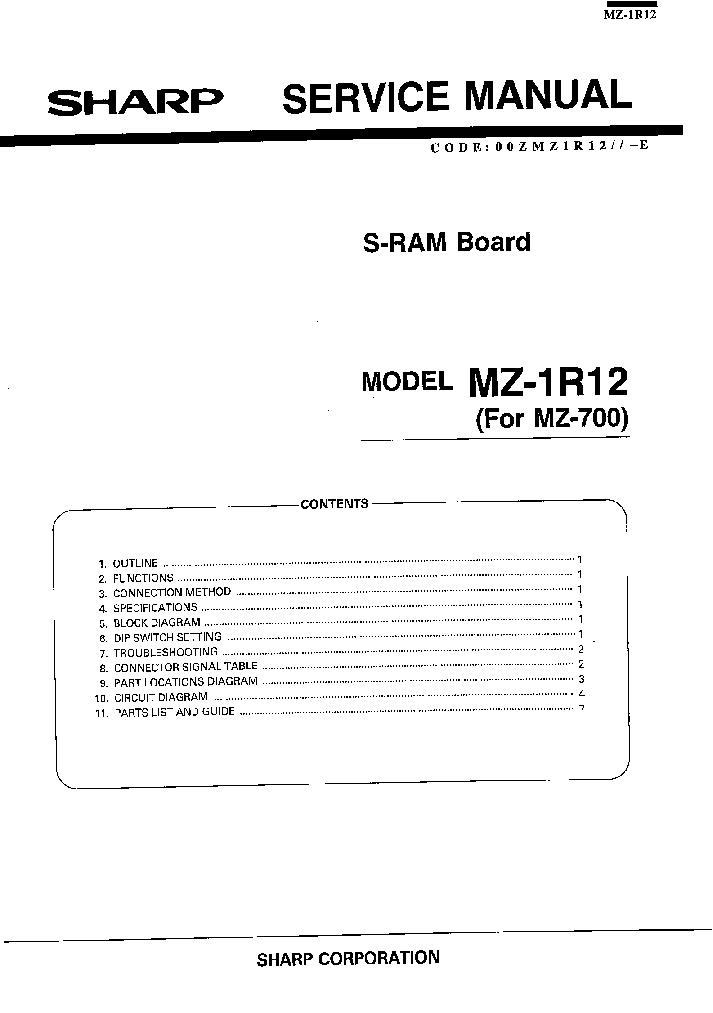 SHARP MZ-1R12 Service Manual download, schematics, eeprom