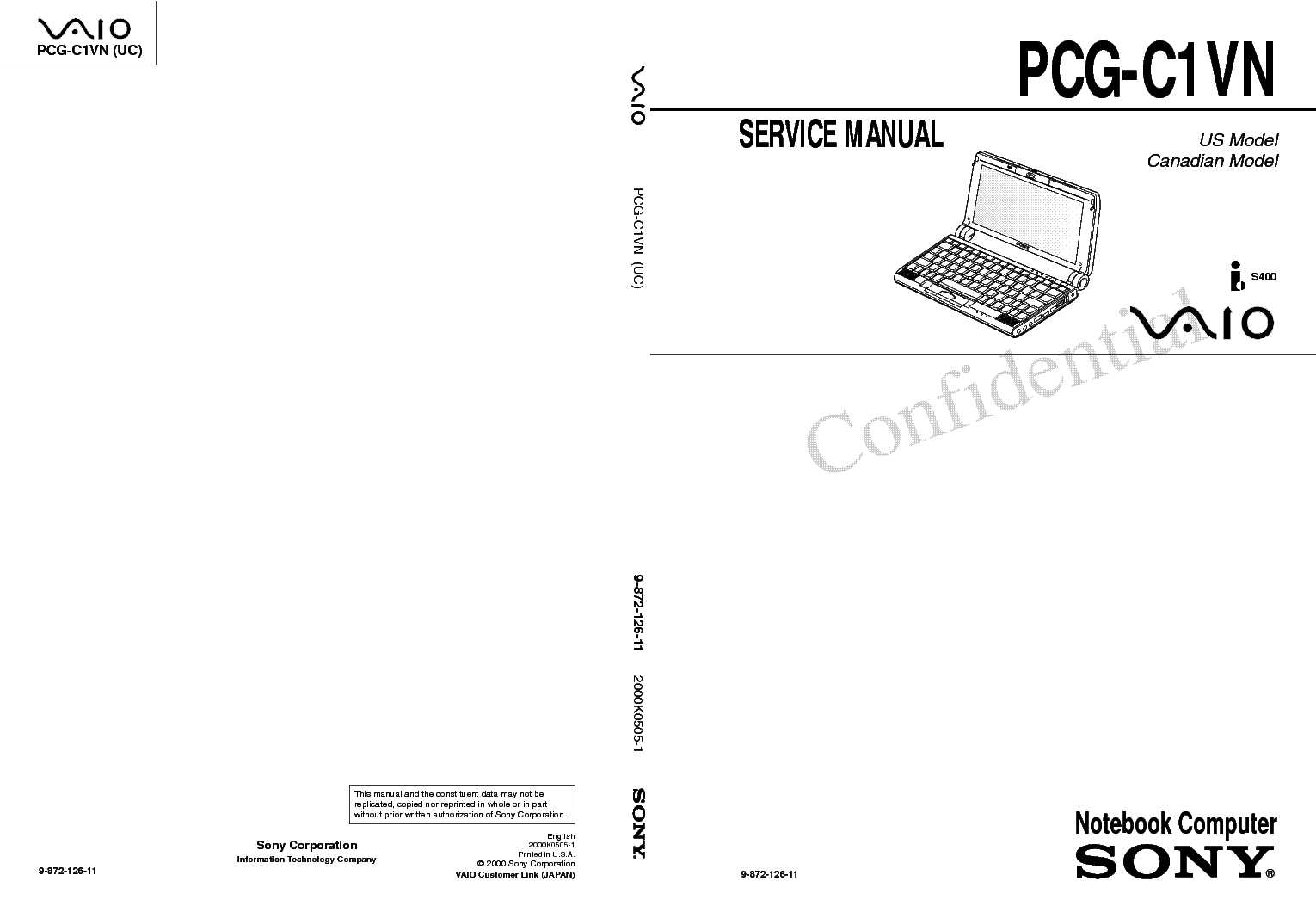 SONY PCG-C1VN SM Service Manual download, schematics