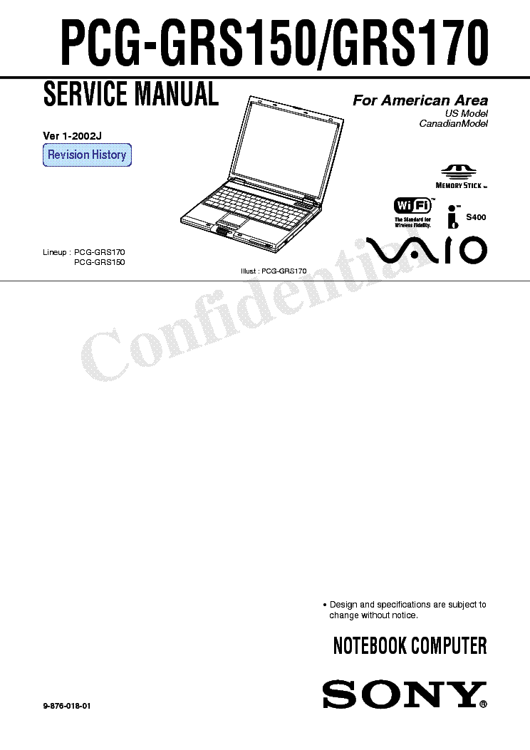 SONY PCG-GRS150 GRS170 SM Service Manual download