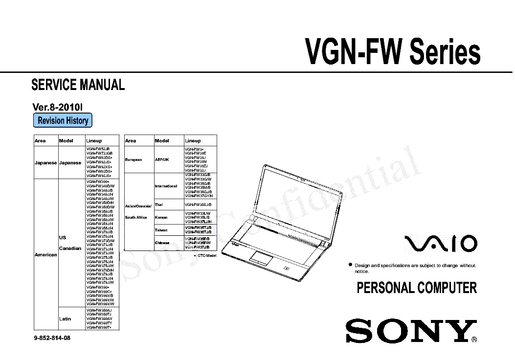 SONY VAIO VGN-FW SERIES SM Service Manual download