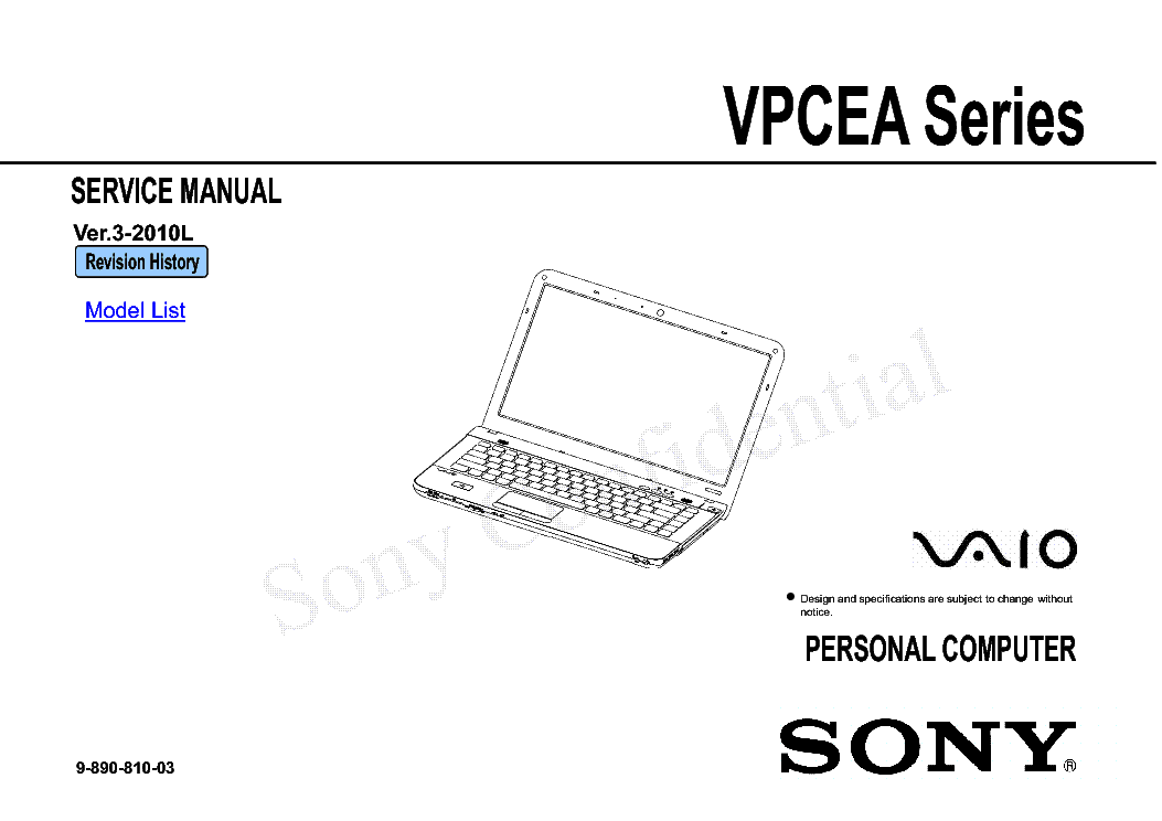 SONY VPCEA SERIES VER-3-2010L Service Manual download