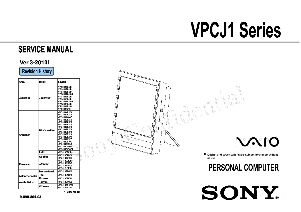 SONY VAIO PCG-Z1V SM Service Manual free download