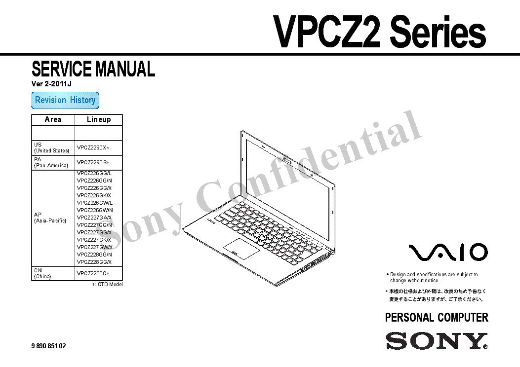 SONY VPCZ2 SERIES VER.2-2011J Service Manual download
