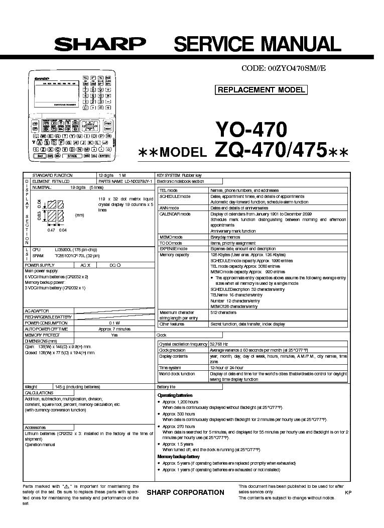 SHARP YO-470 ZQ-470 ZQ-475 Service Manual download