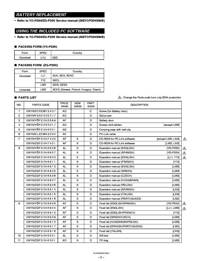 SHARP YO-P20H ZQ-P20H Service Manual download, schematics