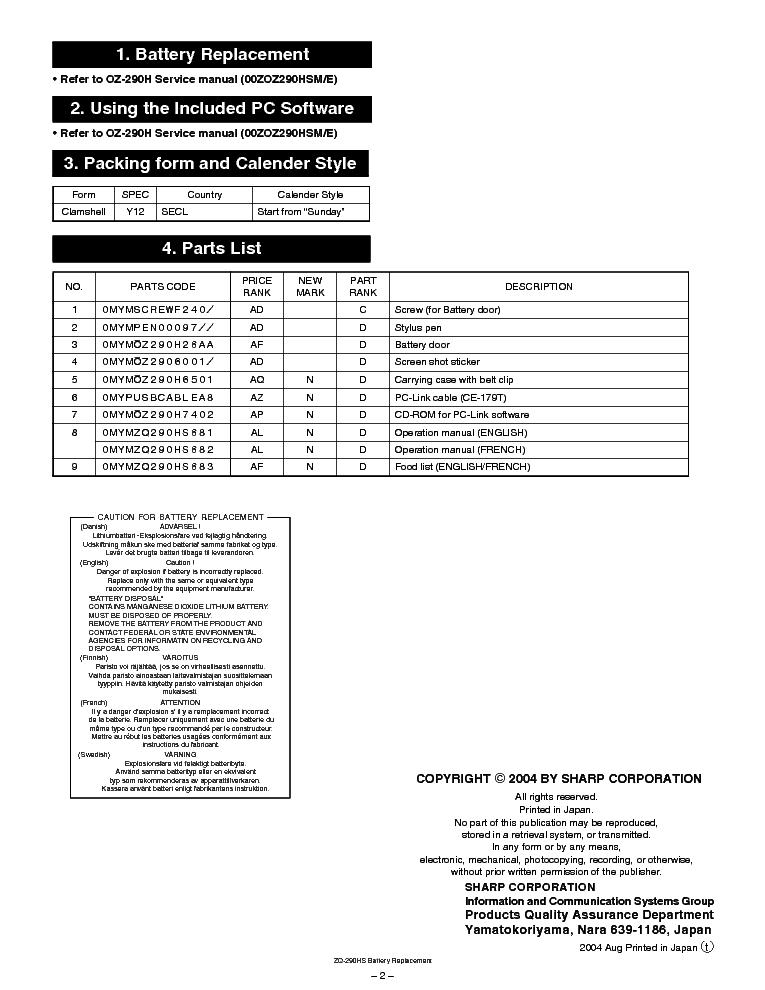 SHARP ZQ-290HS Service Manual download, schematics, eeprom