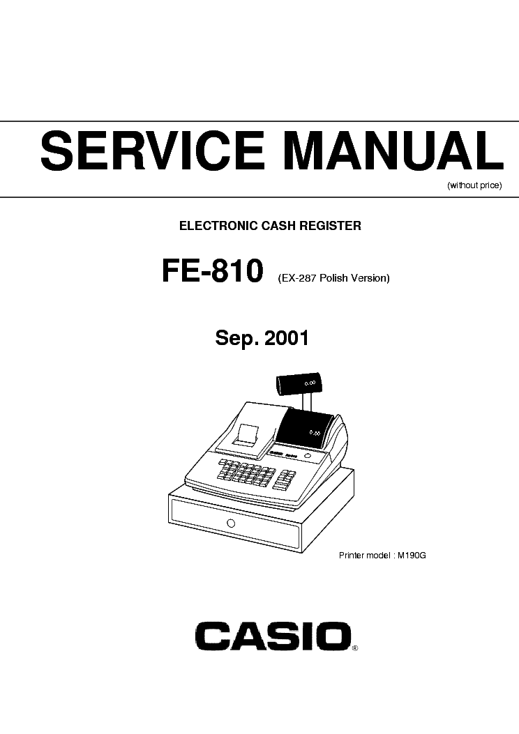 CASIO PCR-T265 T275 TE-M80 CASH-REGISTER SM Service Manual