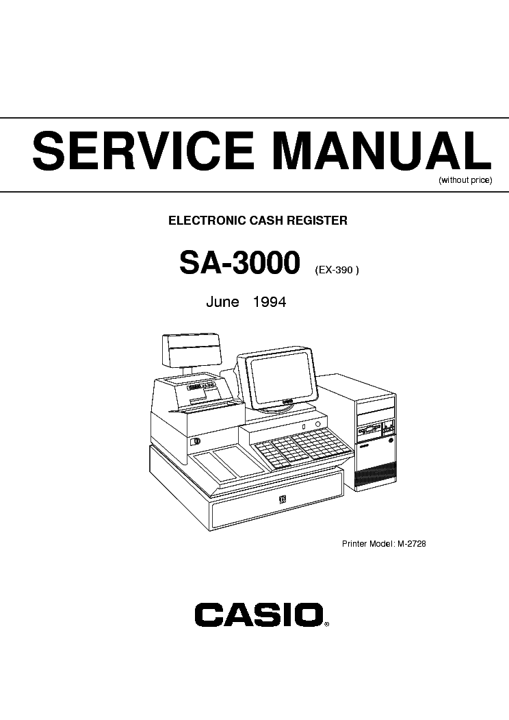 CASIO SA3000 ELECTRONIC CASH REGISTER SM Service Manual