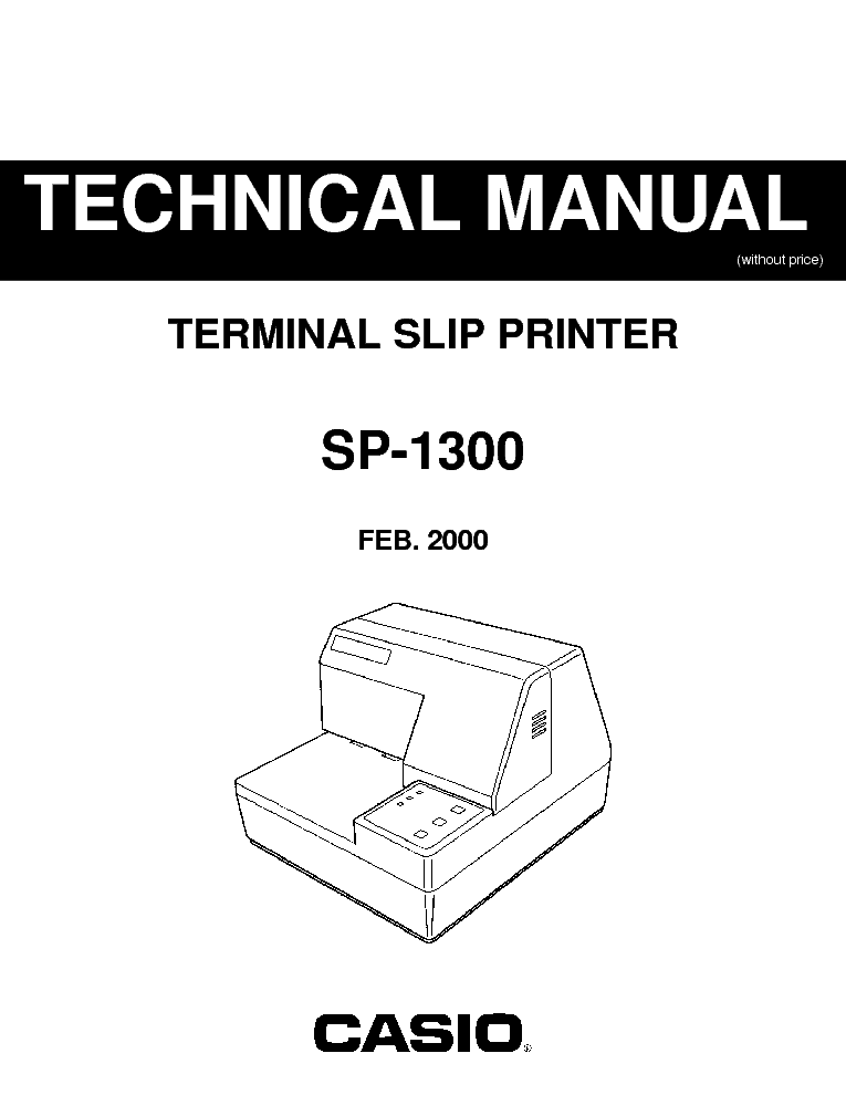 CASIO SP1300 ELECTRONIC CASH REGISTER SM Service Manual