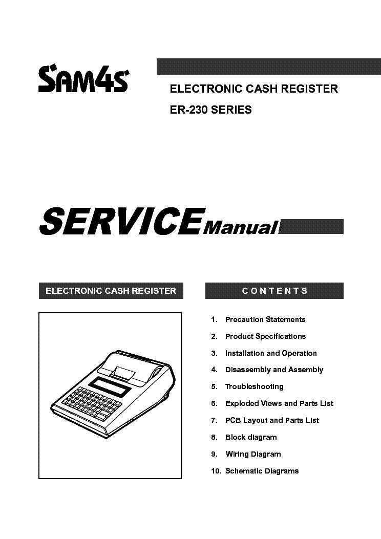 SAM4S ER-230 SERIES Service Manual download, schematics