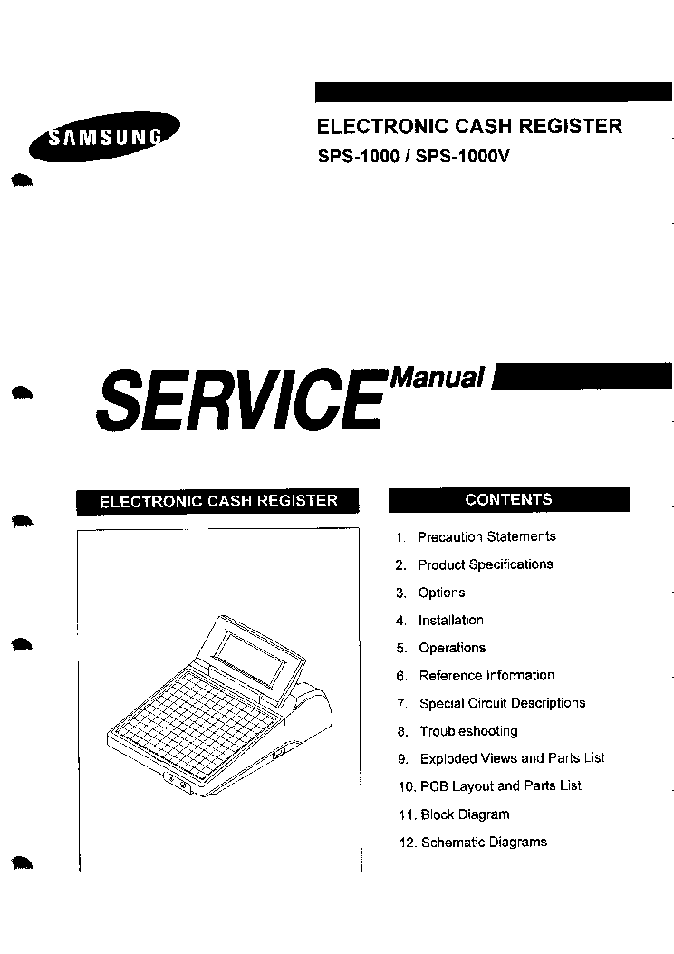 SAMSUNG SPS-1000 SPS-1000V CASH REGISTER Service Manual