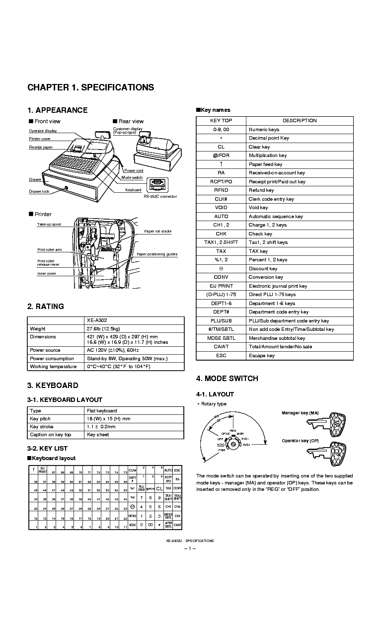 SHARP XE-A302 Service Manual download, schematics, eeprom