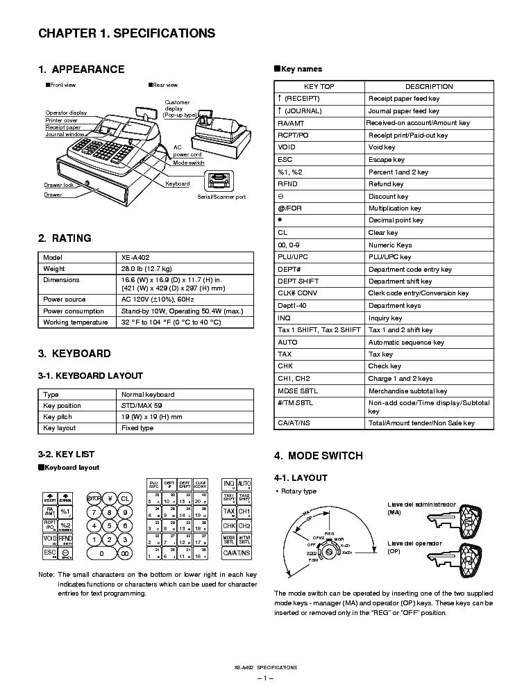 SHARP XE-A402 Service Manual download, schematics, eeprom