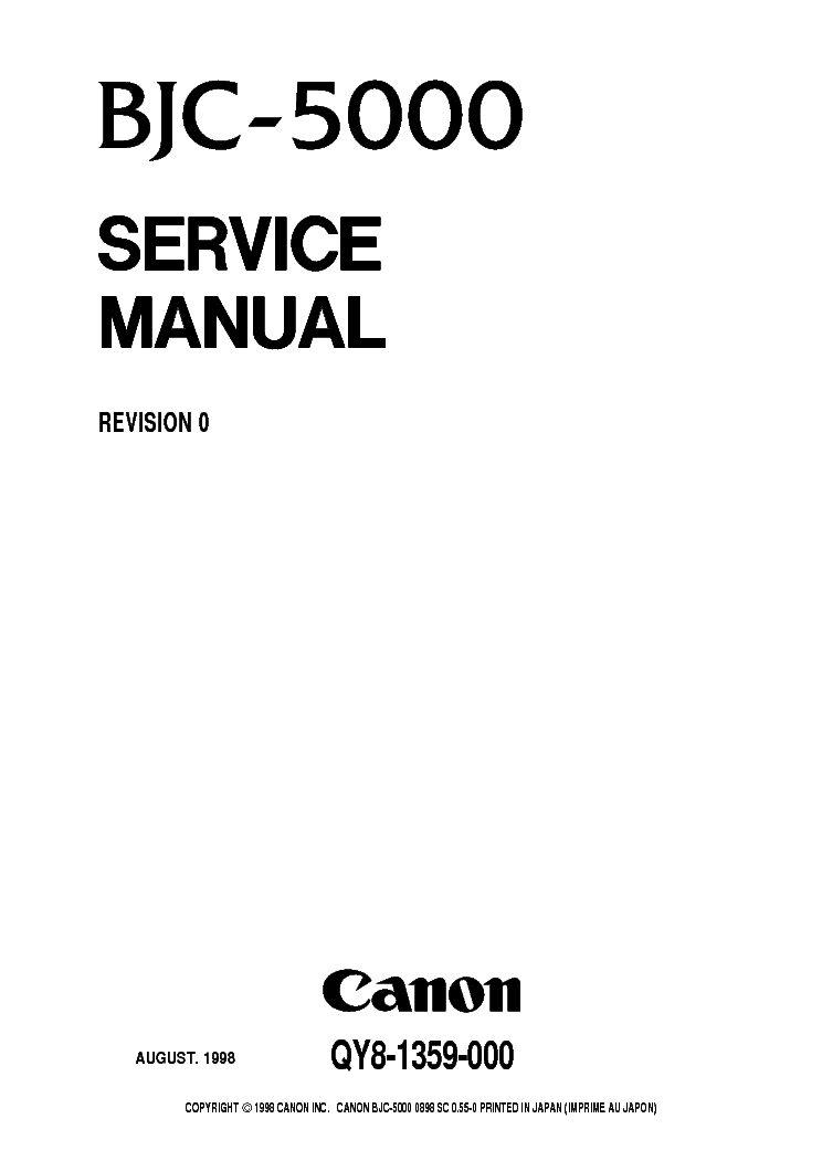 CANON BJC-5000 5100 SM Service Manual download, schematics