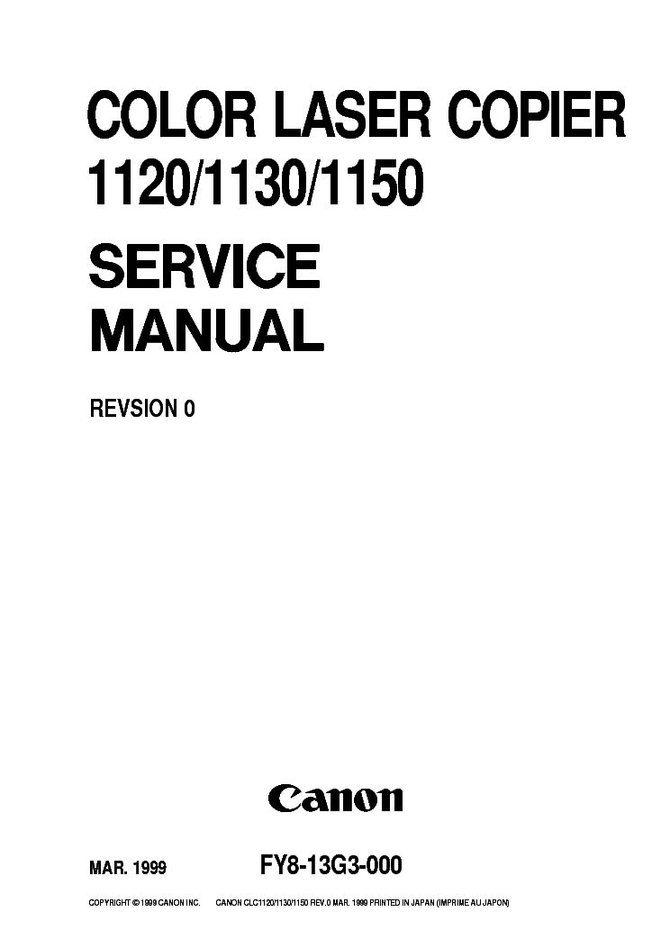 CANON COLOR-LASER-COPIER 1120 1130 1150 SM Service Manual