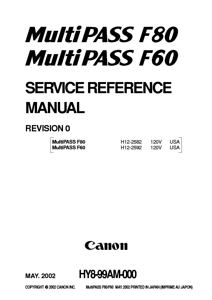 CANON F60 F80 MULTIPASS SM Service Manual download