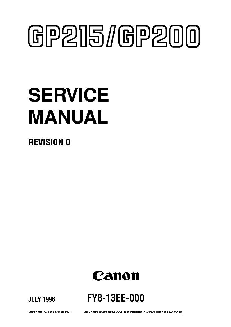 CANON GP200 GP215 SM Service Manual download, schematics