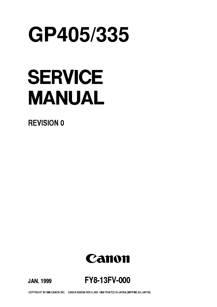 CANON GP335 GP405 SM Service Manual download, schematics