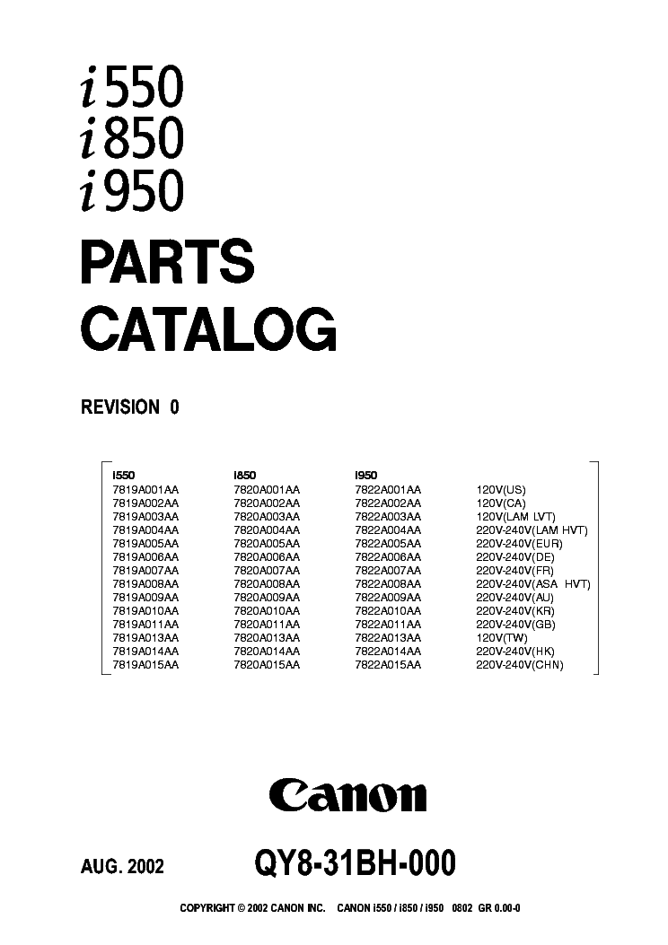 CANON I550 I850 I950 PARTS Service Manual download