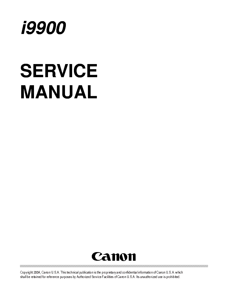 CANON I9900 I9950 SM Service Manual download, schematics