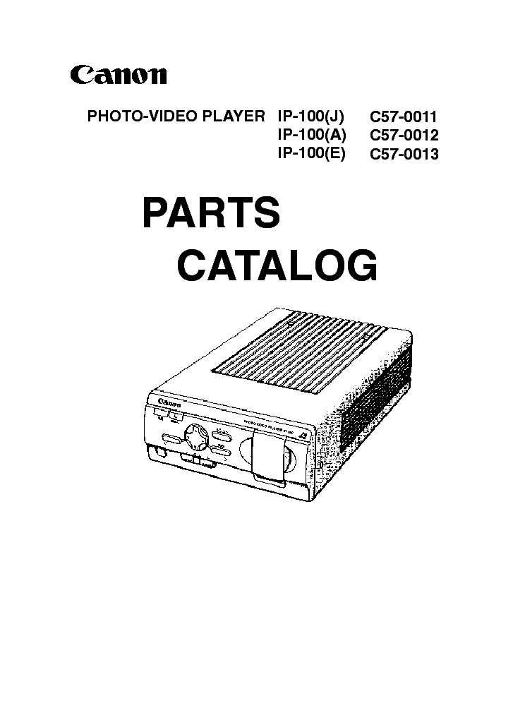 CANON IP-100 PHOTO-VIDEO PARTSAYER PARTS Service Manual