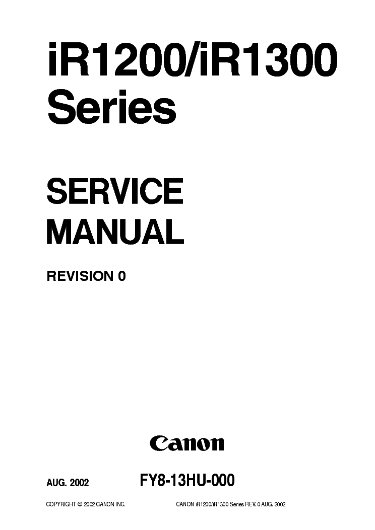 CANON IR1200 IR1300 SERIES SM Service Manual download