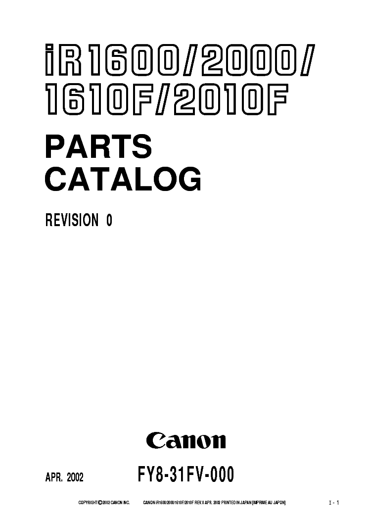 Canon iR1610 iR2010 (iR 1610 2010) Service & Repair Manual