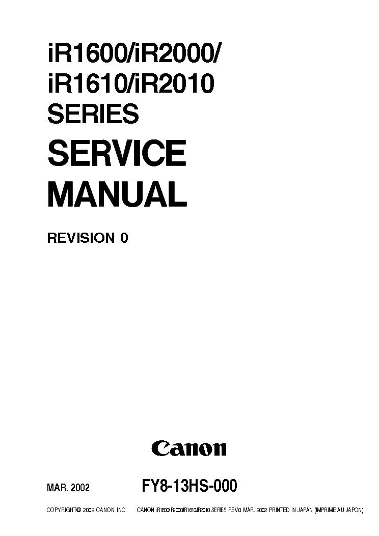 CANON IR1600 IR1610 IR2000 IR2010 SM Service Manual