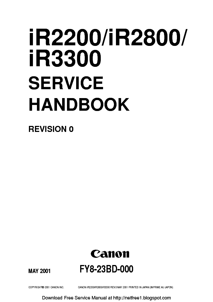 CANON IR2200 IR2800 IR3300 REV-0 SM Service Manual