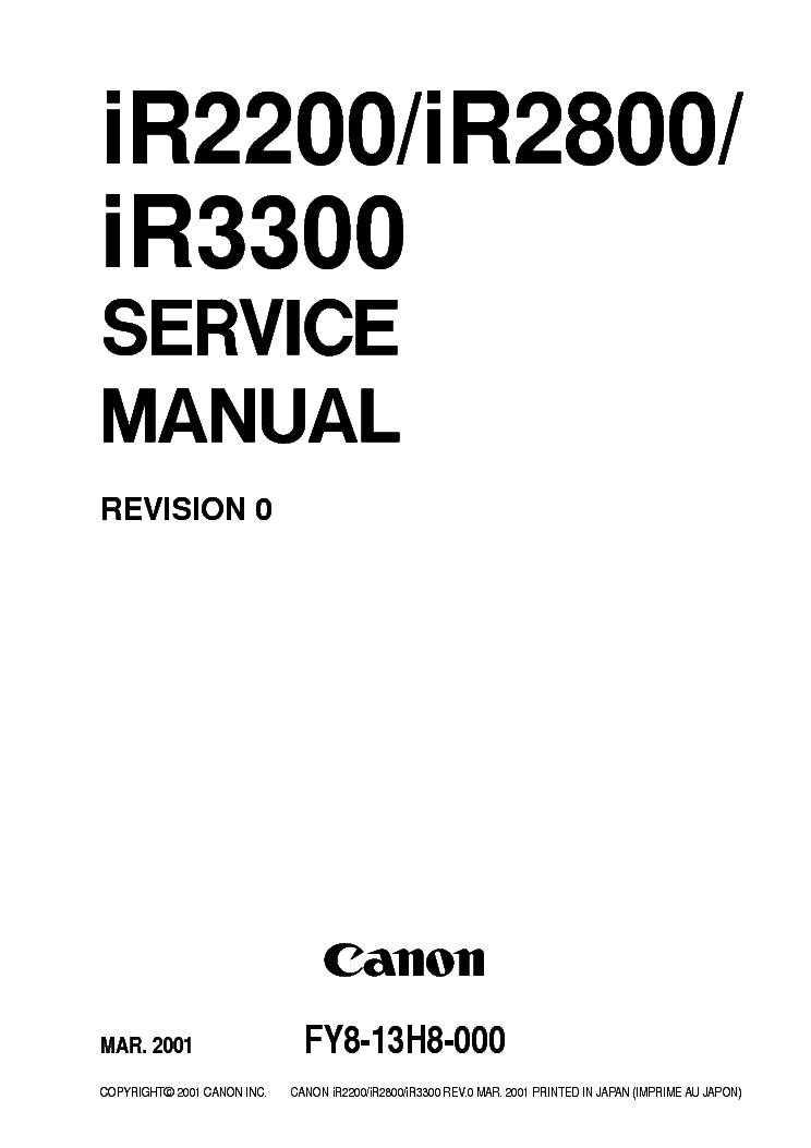CANON IR2200 IR2800 IR3300 SM Service Manual download