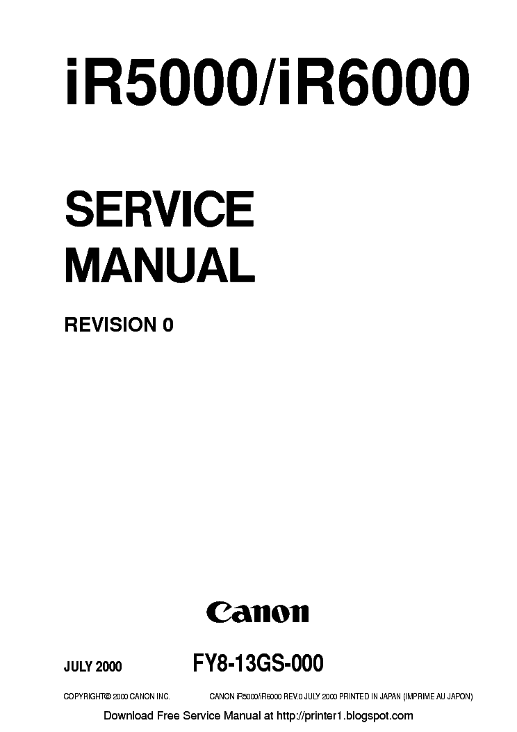 CANON IR5000 IR6000 SM Service Manual download, schematics