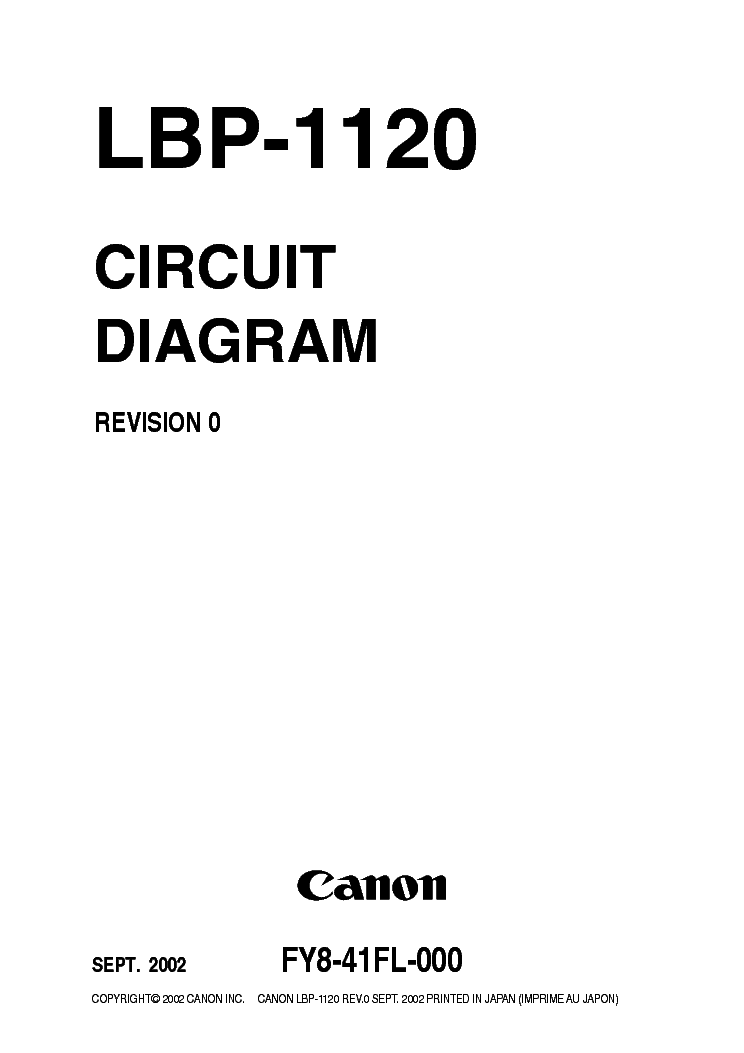CANON LBP-1120 CIRCUIT DIAGRAM Service Manual download
